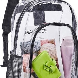 A clear backpack